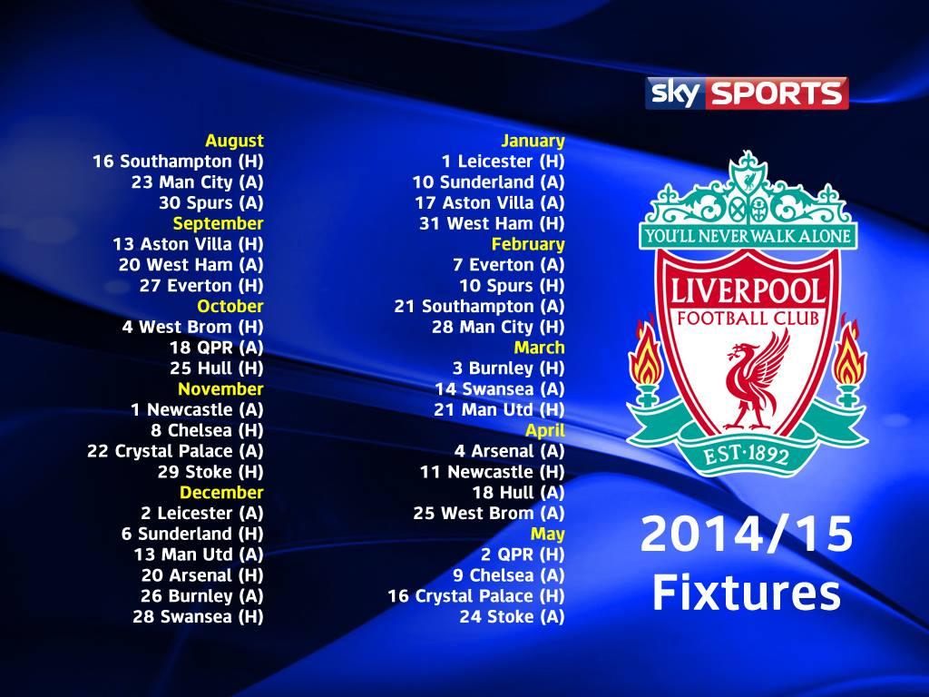Terminliste Liverpool 2014-15